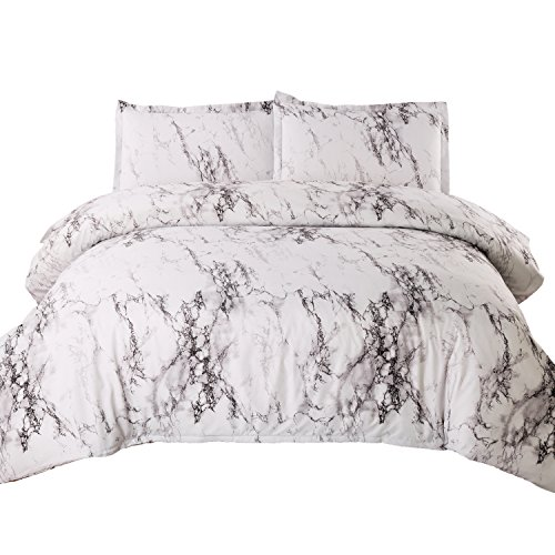 (Bedsure King Duvet Cover Set with Zipper Closure-Printed Marble Design,(104