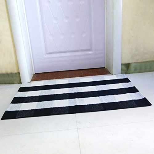 - LHtrade Cotton Rug Buffalo Checkered Plaid Area Rug Bath Runner Door Mat for Entry Way Washable BathDoormatBedroom Carpet (24
