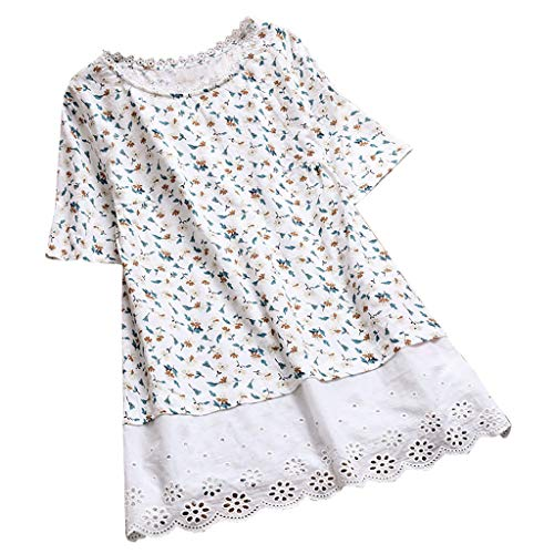 (TUSANG Women Tees Vintage Floral Print Patchwork Hollow Short Sleeve T-Shirts Top Blouse Slim Fit Comfy Tunic(K-White,US-12/CN-2XL))