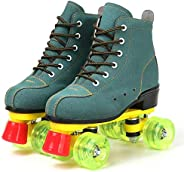 Unisex Roller Skates Artificial Fur Classic High-top Skates Shoes Double-Row Four Shiny Wheels for Womens Mens