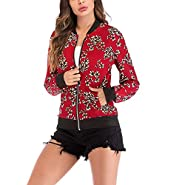 NUWFOR Women's Stand Collar Zip Up Floral Prints Bomber Jacket White