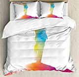 Quote Duvet Cover Set Queen Size by Ambesonne, Abstract on the Cross Scenery with Message of Inspiration Bible Catholic Faith Belief, Decorative 3 Piece Bedding Set with 2 Pillow Shams, Multicolor