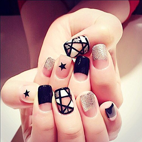 Urberry Set of 24 False Nails Different Design on Nails Short Full Cover Fake Nail Tips Nail strips for women and girls