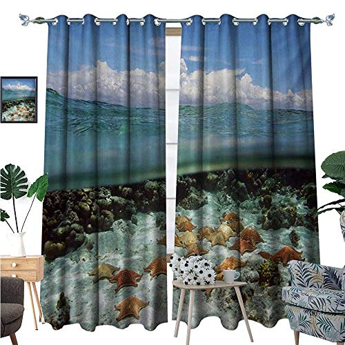 Thermal Insulating Blackout Curtain Split View with Sky and Clouds Above Under The Sea Wildlife and Ocean Nature Rocks Patterned Drape for Glass Door W84 x L108 Multicolor ()
