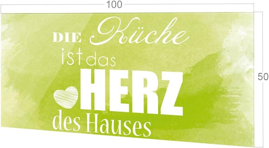 K/üchenr/ückwand Glas Die K/üche ist das Herz des Hauses GRAZDesign R/ückwand K/üche Spruch K/üchen Spritzschutz Herd gr/ün 60x40cm