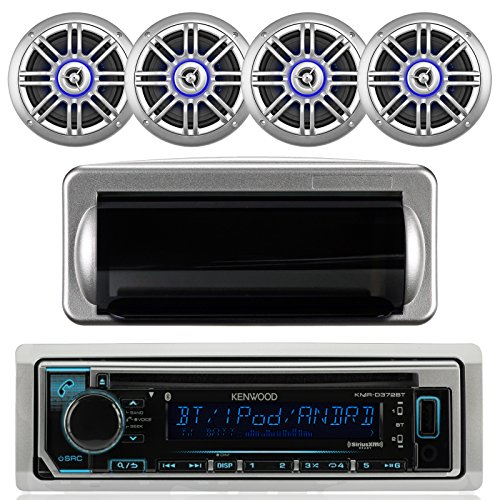 "Kenwood Single DIN Bluetooth In-Dash CD/AM/FM/Digital Media Marine Stereo Receiver, 4x Milennia 6.5"" 150Watt Coaxial Outdoor Illuminated Silver Speakers, Jensen Silver Water Resistant Housing"