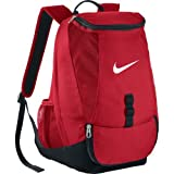 Nike Men's Club Team Swoosh Soccer Backpack with rain flap for secure storage, large dual zip compartment Perfect for Sports and School (Red)