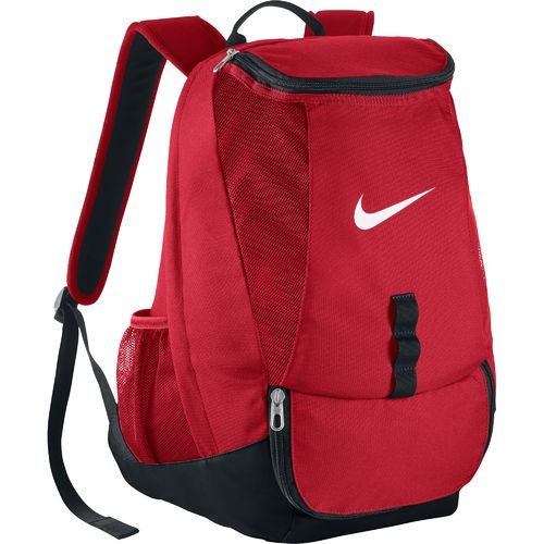 Swoosh Soccer Backpack with rain flap for secure storage, large dual zip compartment Perfect for Sports and School (Red) (Team Soccer Backpack)