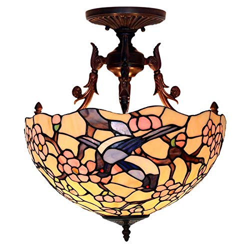 (QCKDQ 16 Inch Ceiling Lights, Tiffany Style Semi Flush Mount Ceiling Fixture with Magpie Plum Blossom Stained Glass Lamp, Retro Livingroom Decoration Lights E27)