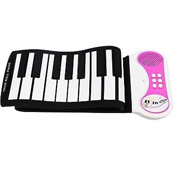 49 teclas flexibles Roll-up Piano Función grabación USB Keyboard S de piano Kids Roll Piano, rosa: Amazon.es: Instrumentos musicales