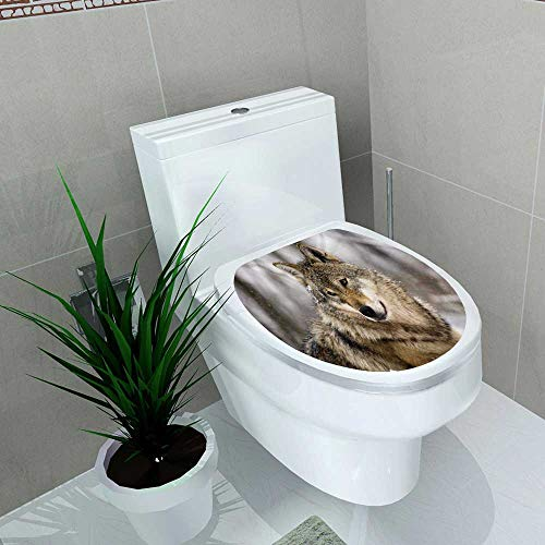 Auraise-home Waterproof & Removable Stickers European Gray Wolf Canis Lupus Lupus in Winter Bathroom Toilet Cover Sticker W6 x L8