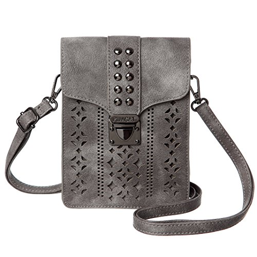 Stud Jean Back Pocket (MINICAT Women RFID Blocking Small Crossbody Bags Cell Phone Purse Wallet With Credit Card Slots(Grey-Thicker))