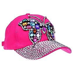 Crystal Rhinestone Butterfly Denim Baseball Cap