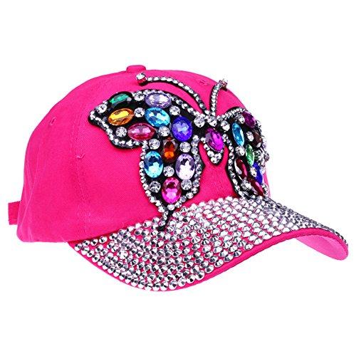 CRUOXIBB Women Butterfly Baseball Cap Crystal Rhinestone Snapback Caps CowboyHat (Rose) -