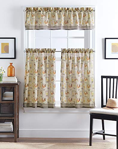 CHF Farmhouse Rooster Print Window Kitchen Curtain