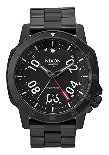 Nixon - Night Ranger All Black A9362325-00 mens swiss GMT watch stainless steel analog
