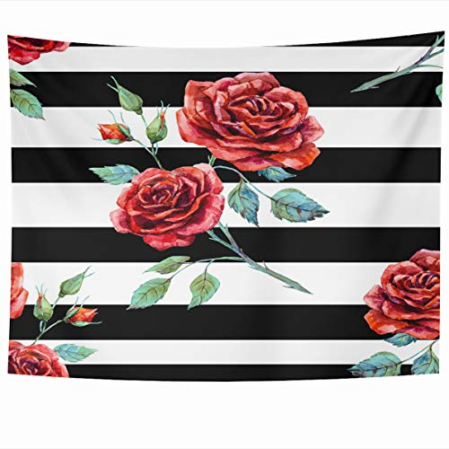(Ahawoso Tapestry 80x60 Inches White Flower Watercolor Rose Red Striped Black Pink Stripe Floral Zebra Wall Hanging Home Decor Tapestries for Living Room Bedroom Dorm)