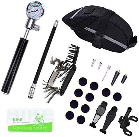 JF-XUAN 自転車アクセサリー, ハオ自転車ポンプ、フロアポンプ、エアーポンプミニ自転車ポンプダブルバギー車電気自動車BMXバイクマウンテンバイク自転車の場合は、ゲージ210PSIコンパクトで、バルブを両面