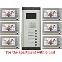 YuHan Apartment Wired 7 Inch Monitor Video Door Phone Audio Visual Intercom Entry Access System 6 Units