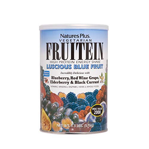 Natures Plus Fruitein Luscious Blue Fruit Shake - 1.3 lbs, Vegetarian Protein Powder - Antioxidant Rich Plant Based Meal Replacement with Digestive Enzymes - Gluten Free - 16 Servings