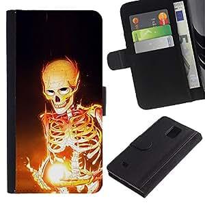Billetera de Cuero Caso Titular de la tarjeta Carcasa Funda para Samsung Galaxy Note 4 SM-N910 / Skeleton Black Magic Bones Flames Fire Art / STRONG