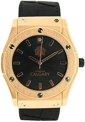 Reloj Calgary Golden Monterosso Black, Mujer, correa negra con esfera negra y dorada
