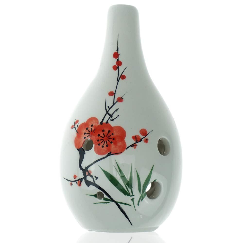 "Hand Painting""Plum Blossom"" 6 Hole Ocarina,Alto C,Glazed Ceramic,Beautiful Design,Water Drop Style by OcarinaWind"