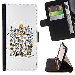 Momo Phone Case / Flip Funda de Cuero Case Cover - Ancla de Oro Amarillo Blanco Texto Negro - HTC One A9