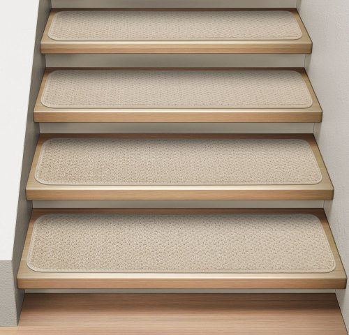 [Set of 12 Attachable Indoor Carpet Stair Treads - Ivory Cream - 8 In. X 23.5 In. - Several Other Sizes to Choose From] (Ivory Cream Marble)