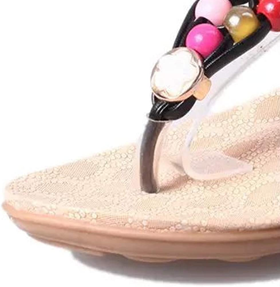 ChenXi Store Womens Sandals Flat Bohemia Style Gem Beaded Clip Toe Flip Flop Casual Summer Shoes