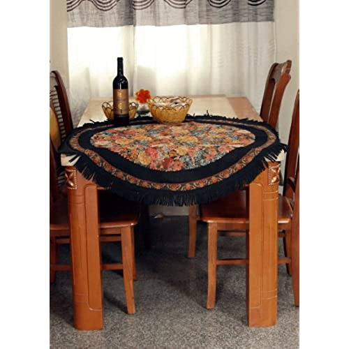 Tache 59 Inch Round Country Rustic Floral Woven Black Midnight Awakening  Tapestry Tablecloths