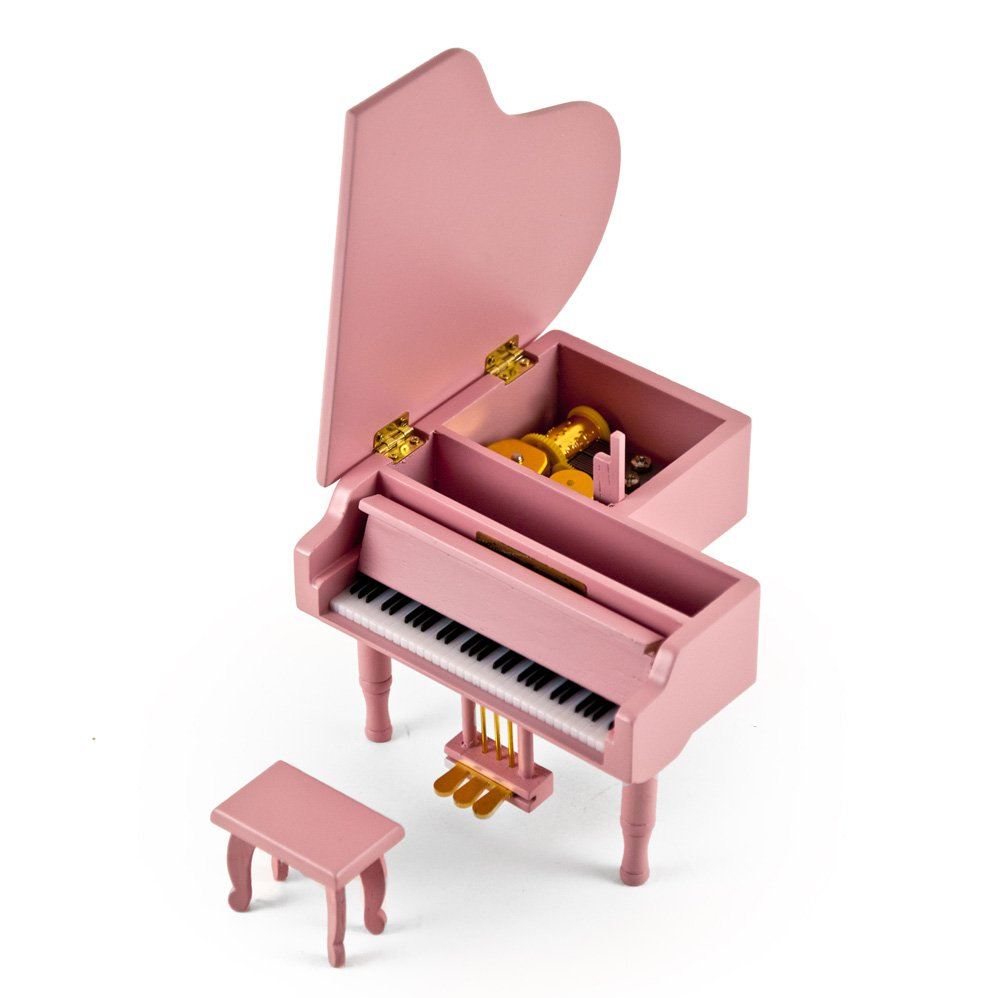 Adorable Pink Baby Grand Piano Music Jewelry Box With Bench - Over 400 Song Choices - Jesus Loves Me by MusicBoxAttic (Image #4)