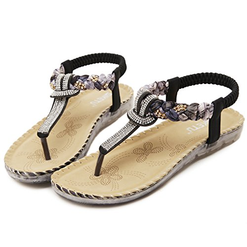 Thong Rhinestone Womens 1 Sandals D2C Bohemian Black Beauty Flat qwPxUa