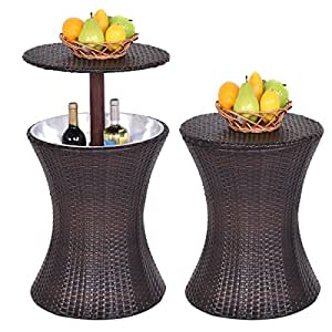 Adjustable Outdoor Patio Rattan Ice Cooler Cool Bar Table Party Deck Pool 1PC