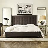 ModHaus Modern Button Tufted Wingback Dark Gray Grey Linen Upholstered Queen Headboard & Bed with Silver Nailhead Accents Includes Living (TM) Pen