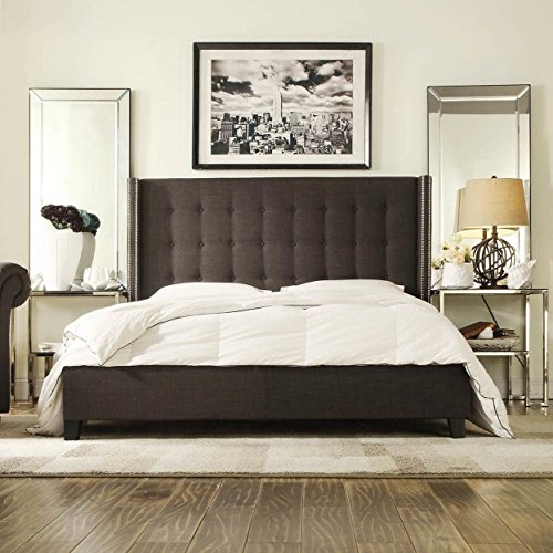 (ModHaus Modern Button Tufted Wingback Dark Gray Grey Linen Upholstered Queen Headboard & Bed with Silver Nailhead Accents Includes Living (TM) Pen)