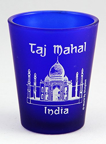 Frosted Imprinted Glass - India Taj Mahal Cobalt Blue Frosted Shot Glass
