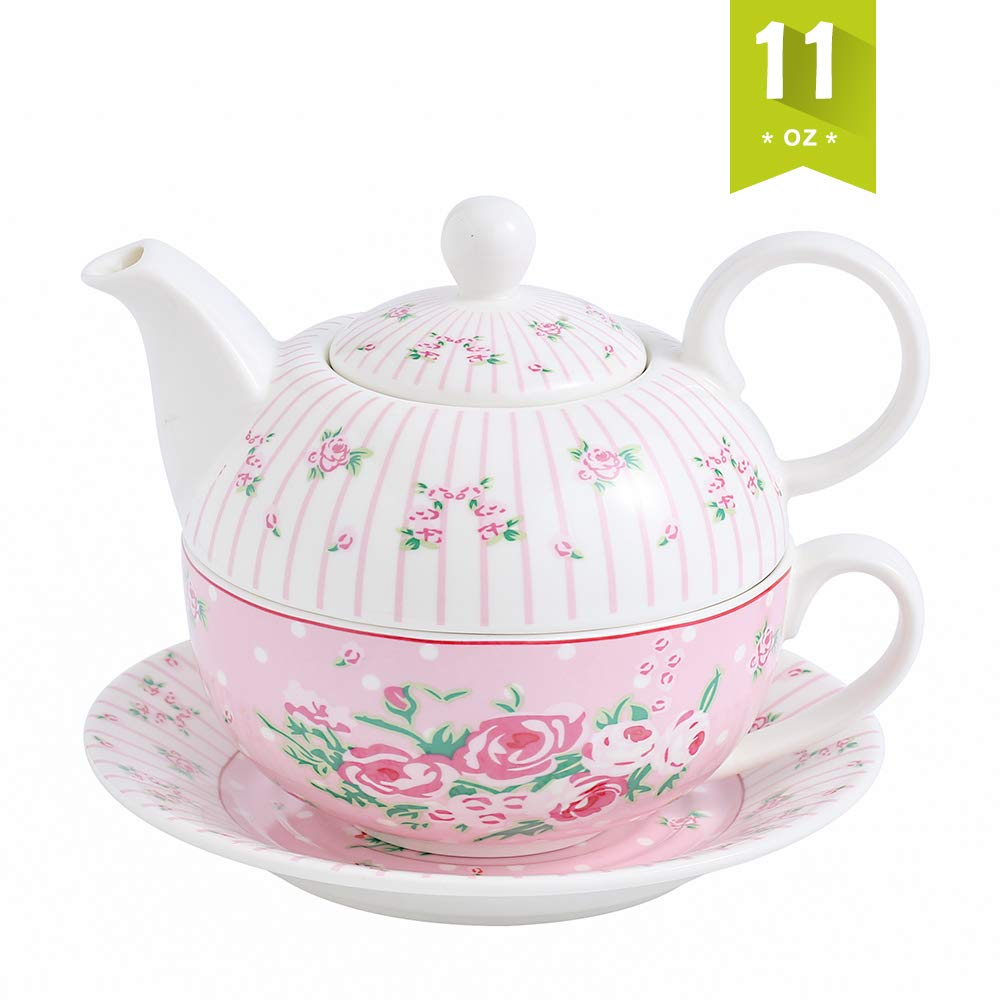 Malacasa Tea for One Set Teapot 11 Ounce and Cup 8.4 Ounce Porcelain Teacup and Saucer Set with Lid and 6 inch Saucer, Pink - Series Sweet Time