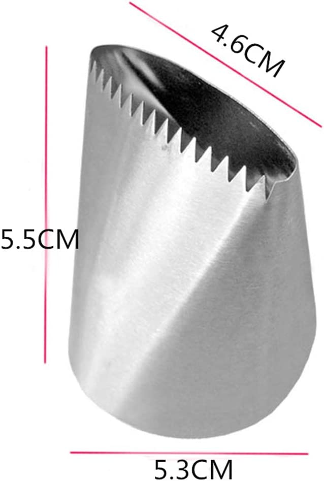 Firiodr Stainless Steel Extra Large Cream Pastry Tip Fondant Cake Decorating Tool Russian Cake Icing Piping Nozzle