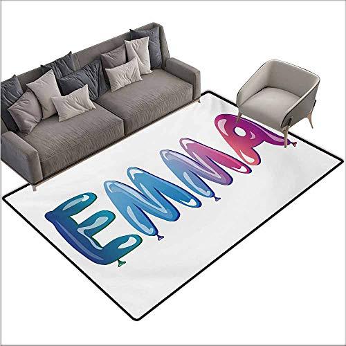 Floor Bath Rug Emma Feminine Girl Name Design with Ornate Balloons Mainstream Female Themed Illustration Machine wash/Non-Slip W70 xL106 Multicolor