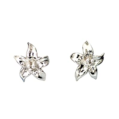 e34918675 TIKIVILLE 925 Sterling Silver Lily Flower Earring Studs 10 x 10 MM Rhodium  Plated: Amazon.co.uk: Jewellery