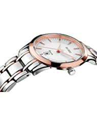 BUREI Classic Womens Ultra-thin Rose Gold Wrist Watches Date with Two-Tone Stainless Steel Bracelet
