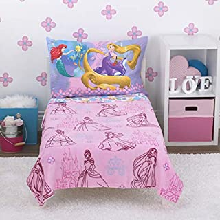Disney Princess - Friendship is A Journey - 4Piece Toddler Bed Set - Coral Fleece Toddler Blanket, Fitted Bottom Sheet, Flat Top Sheet, Standard Size Pillowcase, Pink, Yellow Gold, ICY Blue, Lavender