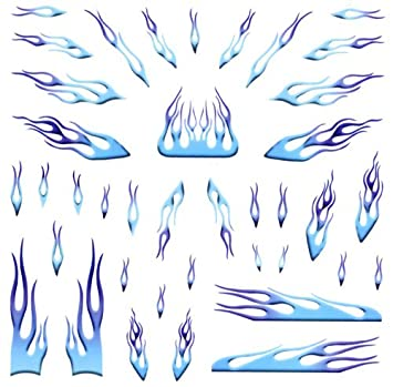 Blue Flames Pinewood Derby Car Decals Toys Games