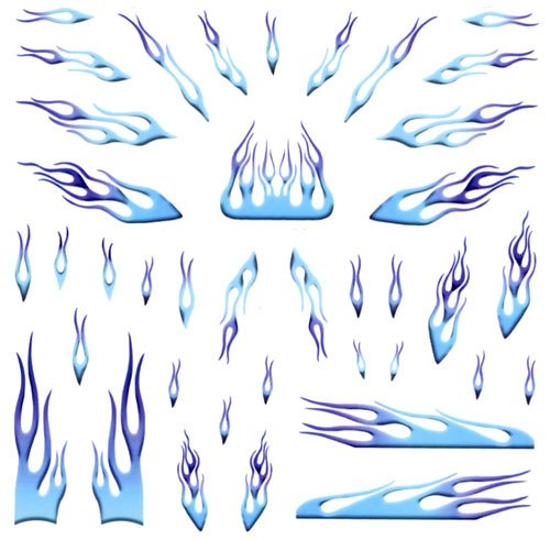 Blue Flames Pinewood Derby Car Decals