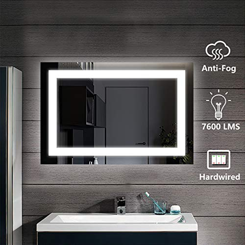 D'amour 36 X 24 Inch Lighted Bathroom Mirror, 6000K Vertical Horizontal Wall -