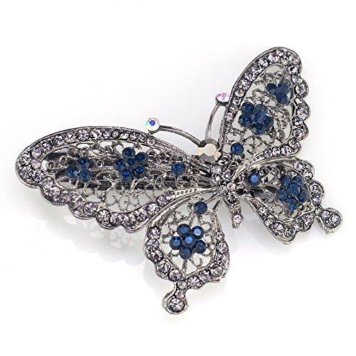AKOAK Amazing Fashion Butterfly Hairpin Blue Crystal Headwear Barrette Hair Clip Headwear Accessories Jewelry