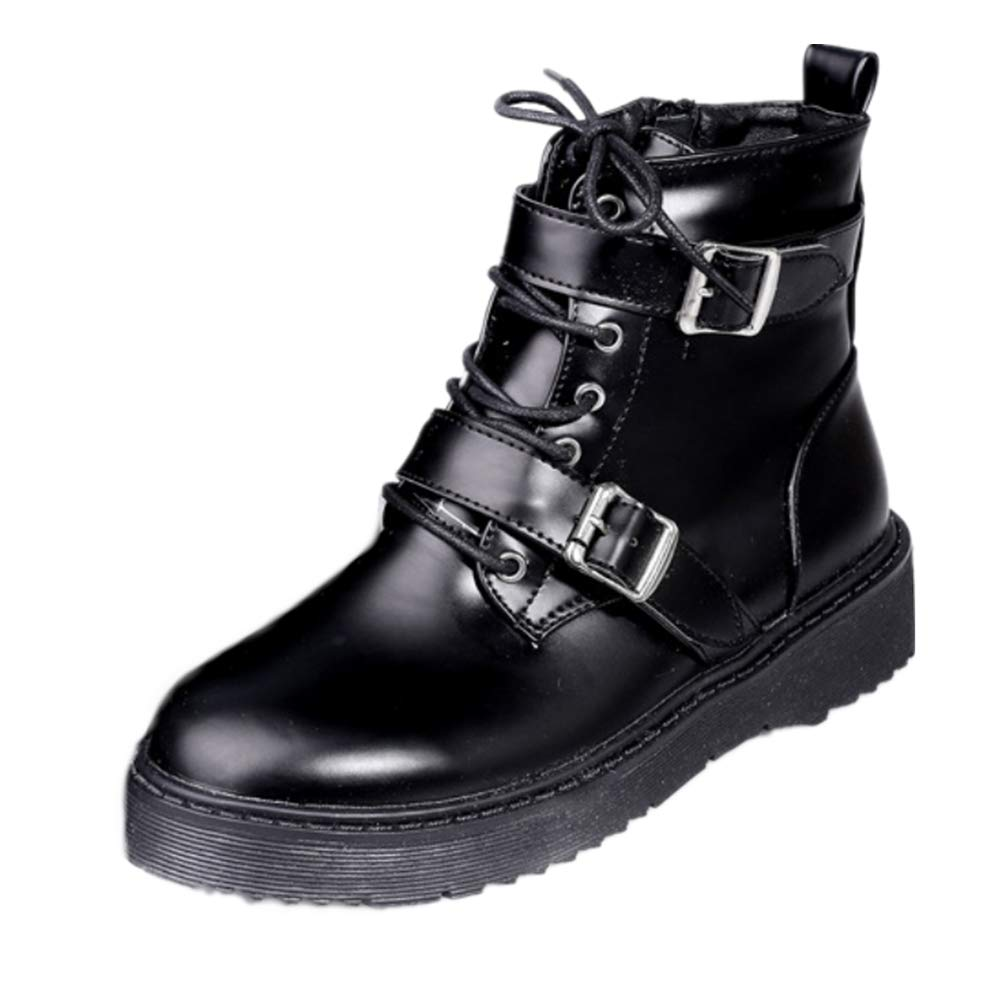 LIANGXIE Ladies damen Ankle Winter Stiefel schuhe Biker Stiefel Flat Grip Sole Casual Stiefel 2018 Martin Short Stiefel Army Combat Stiefel Belt Buckle Größe