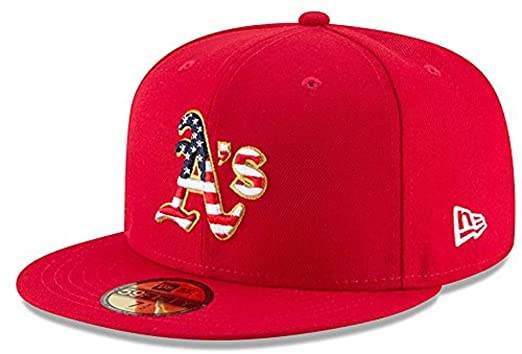 brand new ef5c7 06107 Amazon.com  New Era Oakland Athletics Scarlet 4TH of July Cap 59fifty 5950  Fitted MLB Limited Edition  Clothing