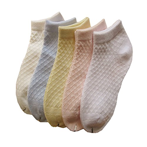 GYNTHIAS Little Girls Thin Half-Mesh Low Cut Cotton Socks Summer 5Pack